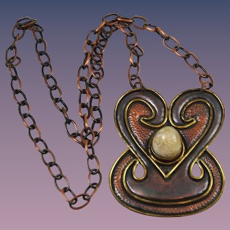 Copper Artisan Pendant Necklace Made in Chile