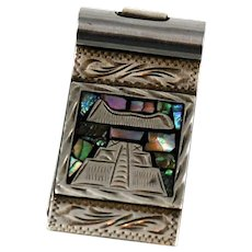 Mexican Sterling Silver & Abalone Money Clip - Aztec Temple Vintage