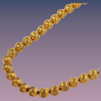 Trifari Gold Bead Necklace Vintage Designer