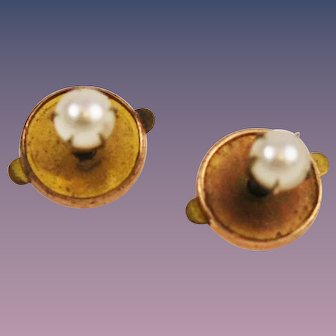 Antique Rolled Gold & Pearl Earrings Victorian
