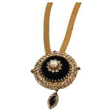 Hobe Rhinestone & Gold Plated Necklace Signed