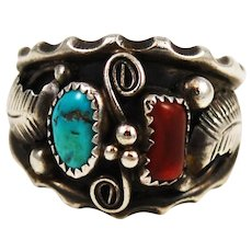 Men's Turquoise & Coral Sterling Navajo Ring Size 12