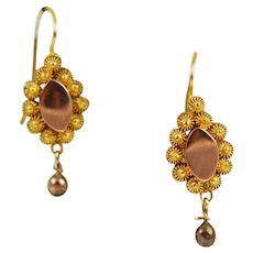 Antique 14K Gold Cannetille Earrings Victorian