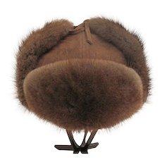 Sweden Natural Mink - Men's Fur Trapper - Trooper Hat