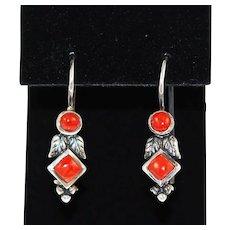 Red Coral & Sterling Native American Earrings