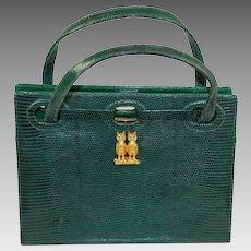 Martin Van Schaak - Emerald Green Lizard Purse Hand Bag Owls
