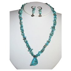 Natural Turquoise Nugget Necklace & Earrings Set - Vicky J - Scottsdale Arizona