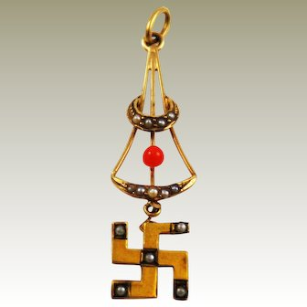 14K Gold Victorian Whirling Log Fob Pendant Seed Pearls Red Coral