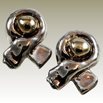Sterling Silver Electroform Designer Clip On Earrings