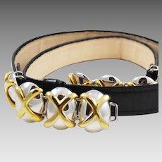 """Alexis Kirk """"XO's"""" Black Snakeskin Belt 1980 Designer"""