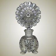 Czech Large Crystal Perfume Bottle Art Deco