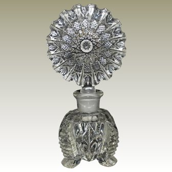 Czech Large Crystal Perfume Bottle Art Deco
