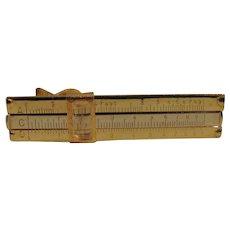 Vintage - Gold Plated Slide Rule - Tie Clip - Novelty
