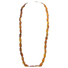 Vintage Natural Baltic Amber - 26 Inches Opera Length - Golden Honey - RARE Tube Beads