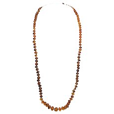 Vintage Natural  Baltic Amber - 26 Inch Opera Length Necklace - Hand Knotted Clarified - Polished Rounds