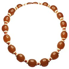 Vintage Butterscotch Amber 12mm & Red Coral + Bone Choker Necklace 14  1/2 Inch Length - Add Extender