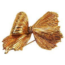 Henkel and Grosse Gold Tone Bow Brooch