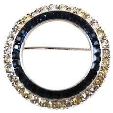 Ciner Sapphire Circle Brooch Designer Signed Vintage