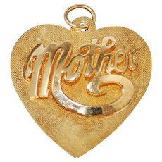 14K Gold Heart Mother Pendant Retro