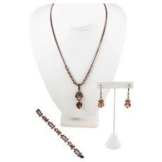 Givenchy Bronze Rhinestone Necklace Set Parure Signed