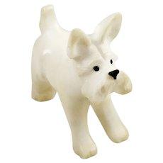 Alabaster Carved Dog Figurine Sculpture Schnauzer or Westie