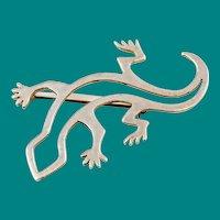 Native American Lizard Brooch Sterling