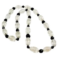 Art Deco Carved Rock Crystal Quartz Beaded Necklace