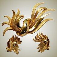 Hattie Carnegie Gold Plated Brooch & Earring Set