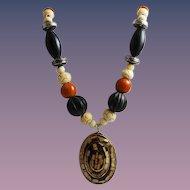 Vintage Carved Bone & Horn Necklace BOHO
