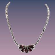Weiss Fuchsia Rhinestone Necklace Signed