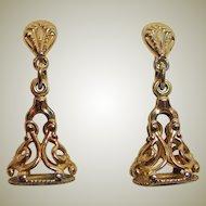 Watch FOB Earrings - Vintage Gold Tone - Screw Back
