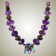 Vintage Faceted Amethyst and Sterling Bead Necklace