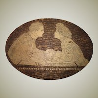 Antique Pyrography - Presentation Wood Box - Thayer & Chandler -  Title: Charles Gibson - The Greatest Game in the World