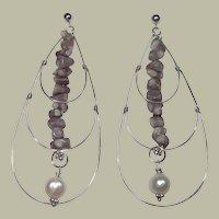 Natural Purple Lavender Coral - Sterling Silver & Pearl Dangle Earrings