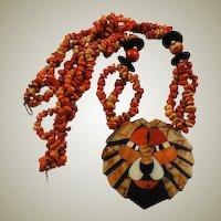 Natural Apple Coral Lion Necklace Mosaic Pendant Tiger Coral
