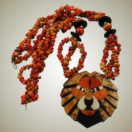 Natural Apple Coral Lion Necklace Mosaic Pendant Tiger Coral
