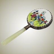 Oriental Painted Porcelain Hand Mirror with Geisha Girl Scene