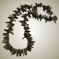 Vintage Labradorite Tooth Beaded Necklace Sterling Clasp