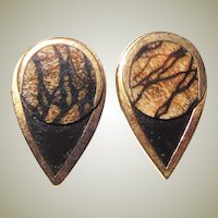 Vintage Tiger Coral & Black - Gold Plated Earrings - Pierced