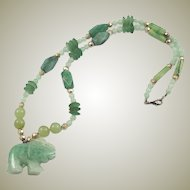Green Aventurine Gemstone Elephant - Figural Bead Necklace Long