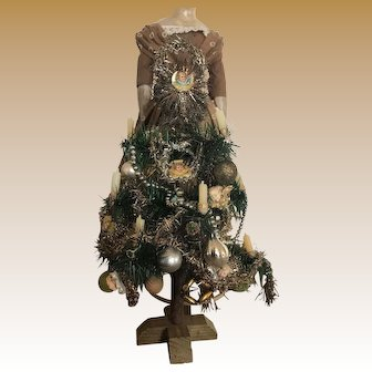 Beautiful antique goose feather Christmas tree with antique decorations