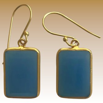 Beautiful Blue Chalcedony Set Gemstone 18K Yellow Gold Plated Sterling Silver Earrings