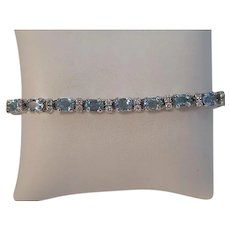 Vintage Estate Wedding Day Birthstone Anniversary Natural Aquamarine & Diamond Bracelet 14K
