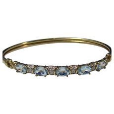 Estate Natural Aquamarine & Diamond Bangle Bracelet Yellow Gold