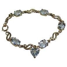 Vintage Natural Mid-Century Wedding Day Anniversary Birthstone Aquamarine Bracelet 14K