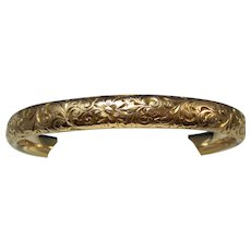 Antique Edwardian 14K Gold Bangle Inscribed Bracelet