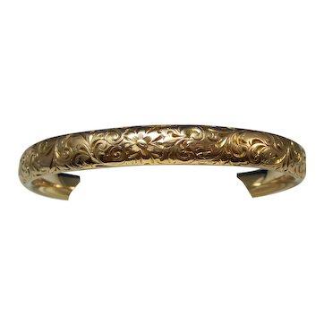 Antique Edwardian 14K Gold Bangle Inscribed Bracelet