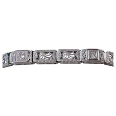 Art Deco 1930's Old European Cut Diamond Wedding Birthstone Bracelet Platinum on 14K