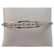 Estate 1950's Diamond Wedding Day Birthstone Bracelet 14K