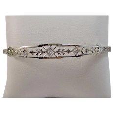 Estate 1950's Diamond Wedding Day Birthstone Bracelet 14K